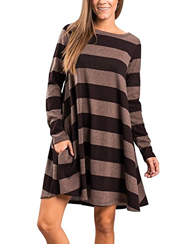 Salimdy Women's Crew Neck Striped Long Sleeve Swing Tunic Dress With Pockets Black - Shipping 2 Day