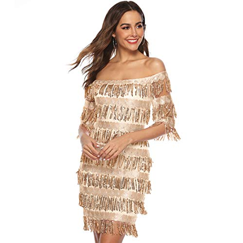 Chartou Womens Cute Off The Shoulder Sequin Fringe Mini Short Dresses Evening Gown (Beige, - Dress Summer Fringe