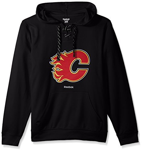 NHL Calgary Flames Adult Men Team Crest Performance Fleece Hockey Hood,Large,black