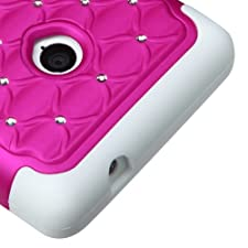 Asmyna Hybrid Luxurious Lattice Dazzling with Some Rhinestones Protector Cover for Nokia Lumia 521 – Retail Packaging – Hot Pink/Solid White