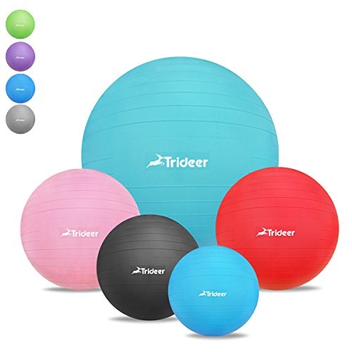 45-85cm Exercise Ball, Birthing Ball, Yoga Pilate Fitness Balance Ball with Pump Plug Kit, Anti-Slip & Anti-Burst, TRIDEER 2000lbs Extra Thick Core Cross Training Ball (Turkis, 75Ccm)