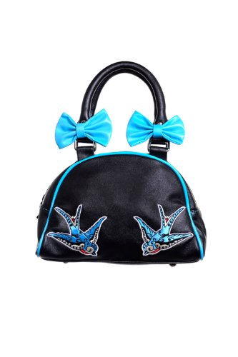 Banned-Alternative-Apparel-Rockabilly-Turquoise-Swallow-Black-with-Bows-Purse