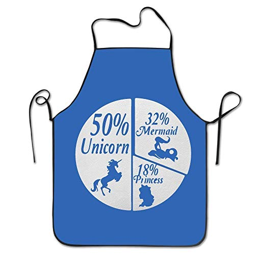 (Sandayun88x Apron 50% Unicorn - 32% Mermaid - 18% Princess Unisex Cooking Kitchen Aprons Chef Apron)