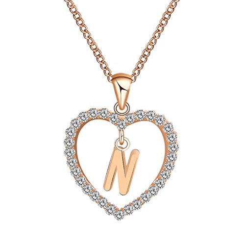 (Caopixx Ladies Pendant, Women Gift 26 English Letter Name Chain Pendant Heart Rhinestone Necklaces Jewelry Presents 2018 (N, Alloy))