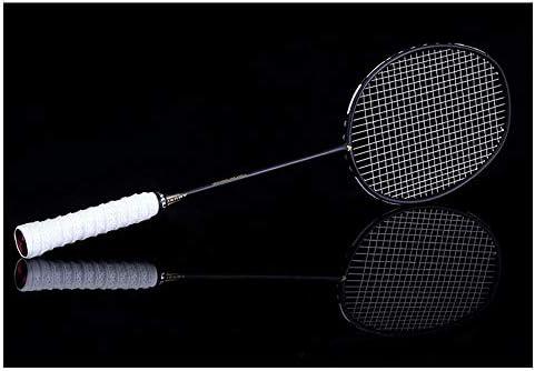 バドミントンラケットセットダブルラケットカーボンシャフトバドミントンラケットセットプロフェッショナルバドミントンラケット - 100%フルカーボンファイバー&ハイテンションウルトラライト (Color : White)