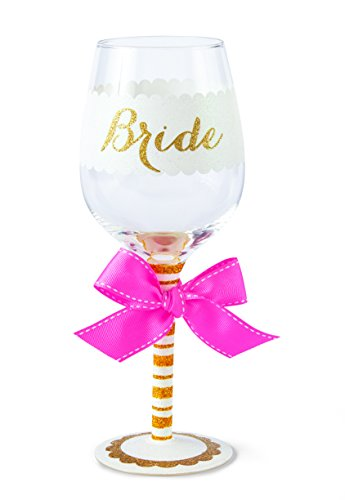 Mud Pie Bride Wine Glass, Gold