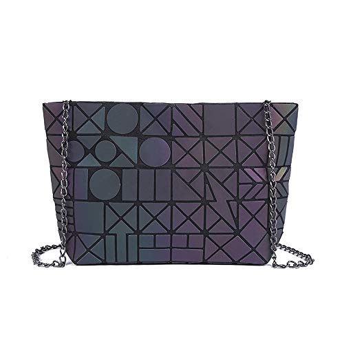 Purse Geometric Chain Handbag Geometric Leather Crossbody Shoulder for Girls Bag Women PU Lattice Magibag 6vnd7q6