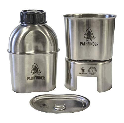 Pathfinder PTH003 Stainless Steel Canteen Cooking Set W/Nylon Pouch (4 Pieces) by Pathfinder
