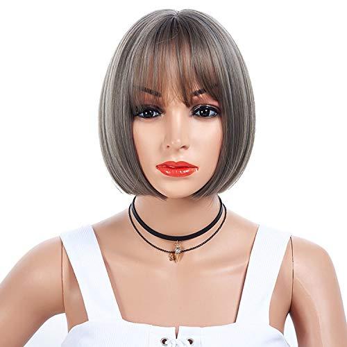 ZMM European and American wigs, fashion wigs, air bangs, linen ash, big scalp, bobo head, face repair, natural, realistic, high temperature wire, heat resistant, rose -