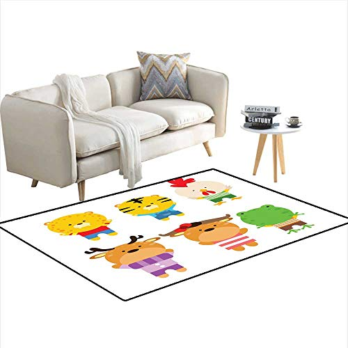 Kids Carpet Playmat Rug Cute and Adorable Baby Animal Cheetah Tiger Chicken Deer Bison and Frog Cartoon Character ()