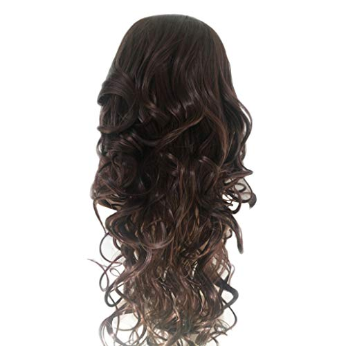 Iusun Wigs, 18 Inch Women's Full Front Long Wavy Brown Heat Resistant Synthetic Wigs Long Curly Full Hair Cosplay Costume Wigs Daily Party Anime Hair Wig High Temperature Fiber - Pieces Inch 18