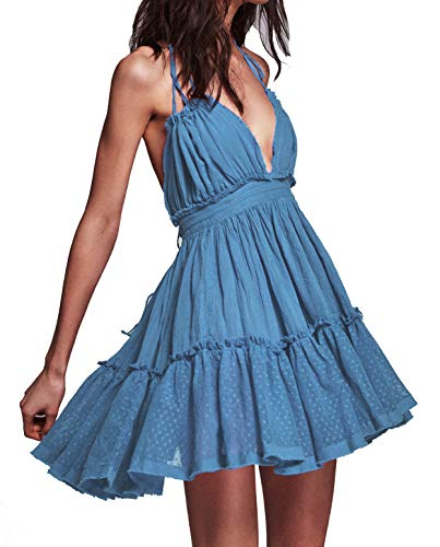 R.Vivimos Womens Summer Halter Deep V Neck Sexy Patchwork Mini Short Dresses (S, Blue)