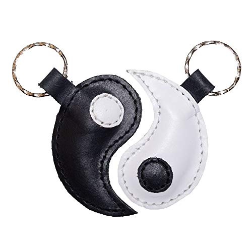 (Hide & Drink, Leather Yin Yang Keychain (2 pieces) / Key Rings/Inseparable/Chinese Culture/Friendship/Accessories, Handmade Includes 101 Year Warranty :: Multicolor)