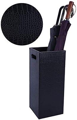 Umbrella stand Artificial Leather Holder Home Office Hostel Hall Decor Black 20.5×20.5×48cm Furniture
