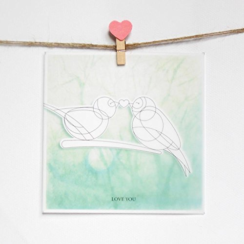 DIY painted Card- Love Bird for Valentine's Day and Lover, Romantic Card to Express Your Love, Sunset in the Forest