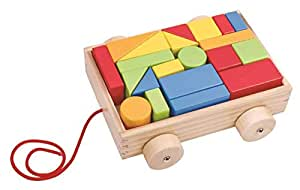 Pull along wooden cart with 21 blocks TKB369