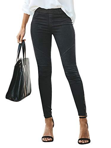(Lynwitkui Womens High Waisted Skinny Moto Legging Jeans Stretch Boyfriend Biker Pleated Pull On Pencil Pant Black)