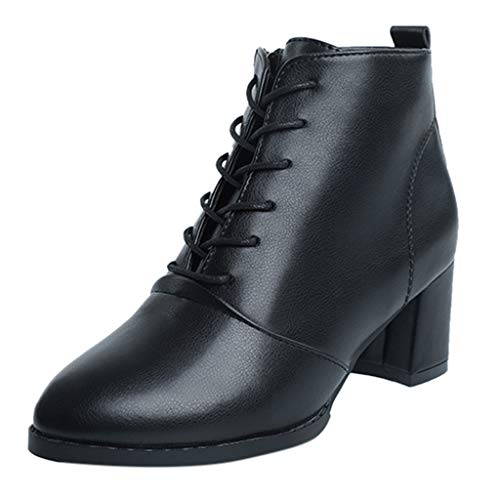 Ankle Lace Up Platform Chunky Heel Ankle Bootie,Londony Womens Comfort Stacked Chunky Heel Lace Up Ankle Booties Black ()