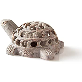 Shalinindia Hand carved Stone Lucky Turtle In Turtle Figurine Beautifully Sculptured Lattice Jaali Work From a Single Block of Stone