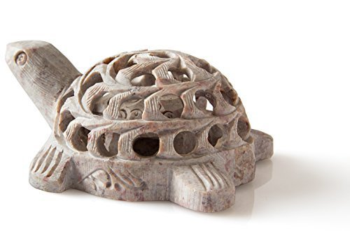 - Shalinindia Hand carved Stone Lucky Turtle In Turtle Figurine Beautifully Sculptured Lattice Jaali Work From a Single Block of Stone