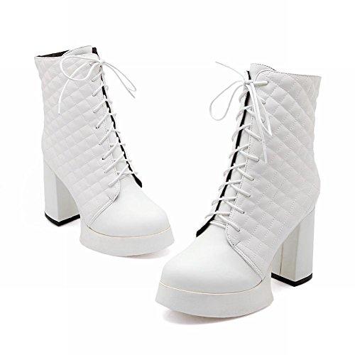 Latasa Mode Féminine Plate-forme Haut Talon Haut Bottes Courtes Blanc