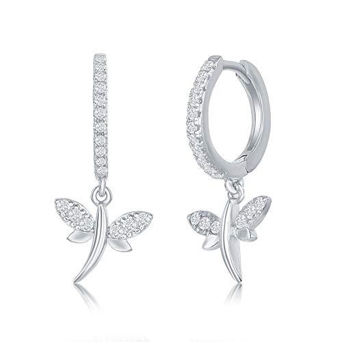 Sterling Silver Small Huggie Hanging Charm Hoop Cubic Zirconia Earrings