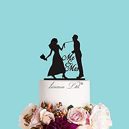 Amazon Com Funny Wedding Cake Topper Custom Cake Topper Mr And