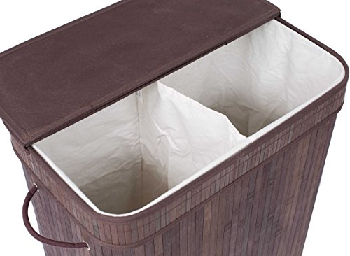 BirdRock Home Double Laundry Hamper with Lid and Cloth Liner   Bamboo   Espresso   Easily Transport Laundry Basket   2 Section Collapsible Hamper   String Handles