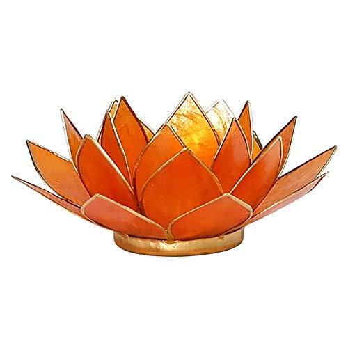 - FindSomethingDifferent Lotus Candle Holder Capiz Shell Orange Chakra 2