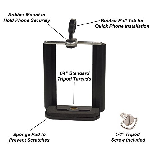 DaVoice Cell Phone Tripod Mount Adapter Holder Clamp for iPhone X Se 8 7 6 6s Plus 5 5s 5c Samsung Galaxy S9 S8 S7 S6 S5 Edge Adjustable Smartphone Universal Bracket Clip Cellphone Attachment (Black) cheap
