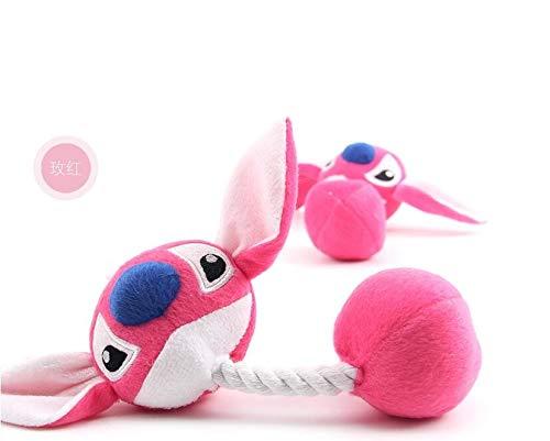 chongwan Pet Dog Plush Rope Toys Funny Cartoon BigPet Plush Toys Pink Blue 23Cm Puppy Chew Squeaker Toys