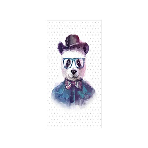 Decorative Privacy Window Film/Vintage Hipster Panda with Bow Tie Dickie Hat Horn Rimmed Glasses Watercolor Style/No-Glue Self Static Cling for Home Bedroom Bathroom Kitchen Office Decor Black Blue