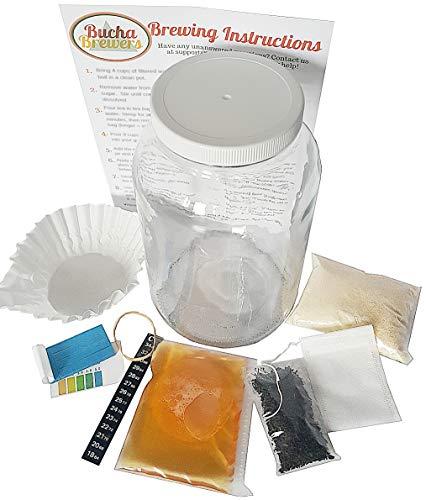Kombucha Starter Kit with Kombucha SCOBY, Starter Tea, Certified Organic Sugar, Gallon Glass Jar with Lid, Coffee Filters, pH Strips, Thermometer, Tea, Tea Bag, Rubber Band, Instructions Kombucha Kit