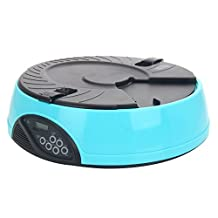 Automatic Pet Feeder Auto Dog Cat Food Bowl Dispenser Programmable 6 Meal Timed (Blue Light)