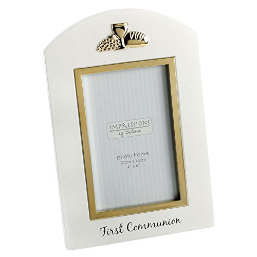 (Oaktree Gifts 1st Communion White Wooden Golden Photo frame 4 x 6)