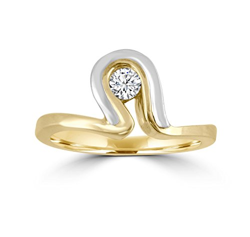 Round Cut Diamond 10k Two Tone Gold Solitaire Wave Ring (Wave Tone Gold Two)