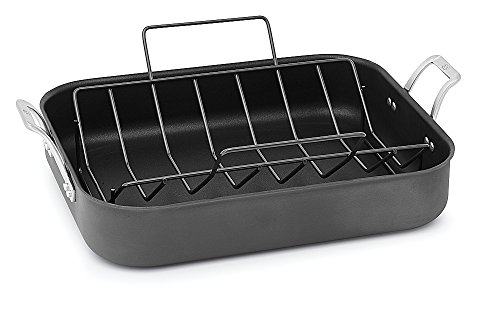Calphalon 1948255 Signature Hard Anodized Nonstick Roaster Pan with Rack, 16 inch, Black