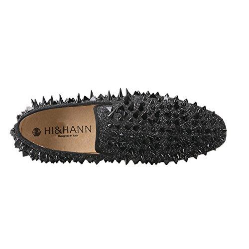 Salut & Hann Mens Rivet En Daim Nubuck En Cuir Mocassins Chaussures Slip-on Mocassin Smoking Pantoufle Noir