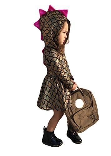 Toddlers Baby Girls Dinosaur Costume Dress Fish Scale Mermaid Hooded Hoodie Dress (110(3-4T), (Mermaid Toddler Dress)