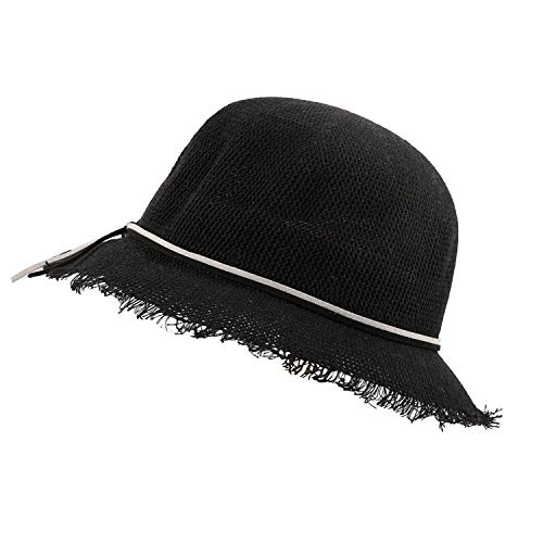 Women's Wild Bow Fringe Fisherman Hat Korean Breathable Outdoor Sunshade Casual Sun Hat 41,Black,US,One -