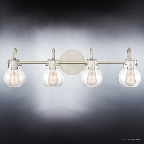 Luxury Vintage Bathroom Light, Large Size: 9''H x 30.5''W, with Industrial Style Elements, Floating Glass Design, Aged Nickel Finish and Clear Glass, Includes Edison Bulbs, UQL2042 by Urban Ambiance by Urban Ambiance (Image #4)