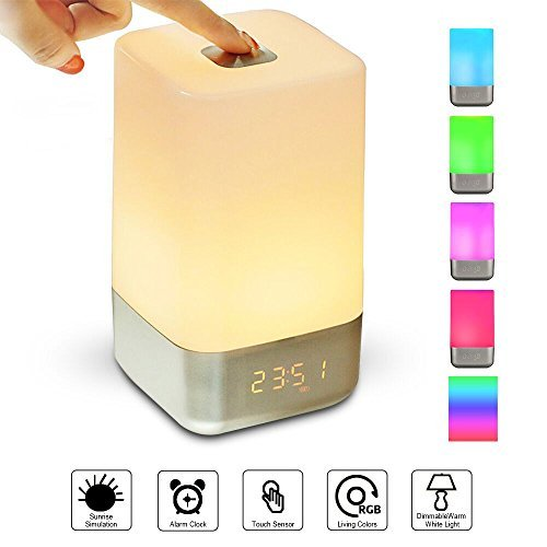 Wake Up Light Alarm Clock,GLIME Sunrise Simulation LED Bedside Lamp Clocks for Bedroom Touch Sensor Night Light with 7 Changing Colors 5 Natural Sounds 3 Brightness USB Rechargeable Reading Lamps