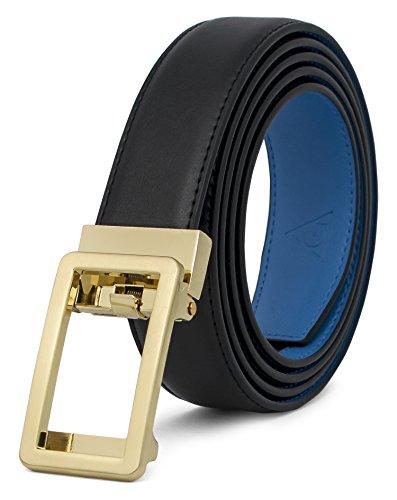 AOG DESIGN Two-Tone Leather Ratchet Belt Open Buckle - Spring Edition (Gold - Black and Blue),One Size Adjustable (Design Belt Buckle)