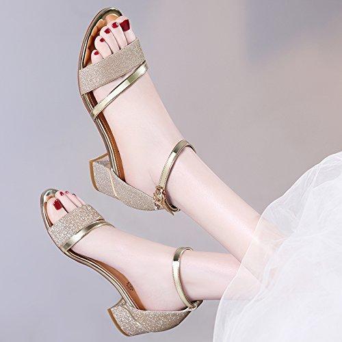 SHOESHAOGE Correa Ranurada Sandalias Mujer con Gruesas con Los Zapatos De Mujer Sandalias Dew-Toe High-Heel,Eu35 EU34