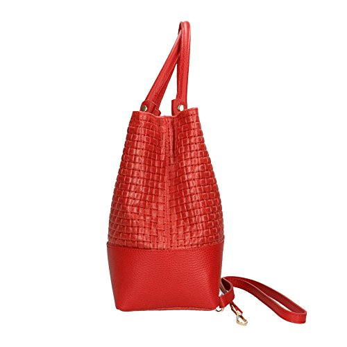 37x27x14 Made Pelle Stampa Mano Borsa Handbag Borse Vera in Cm Rosso con Intrecciata Italy da a Tracolla in Chicca Donna qwTOXAW6T