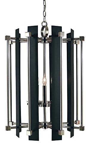 (Framburg 5-Light Polished Nickel/Matte Black Louvre Chandelier)