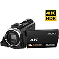 Video Camcorder, Andoer 4K Camcorder 48MP Digital Video Camera 2880 x 2160 HD 3inch Touchscreen Handy Wifi Camera with IR Night Vision Support 16X Zoom 128GB Max Storage