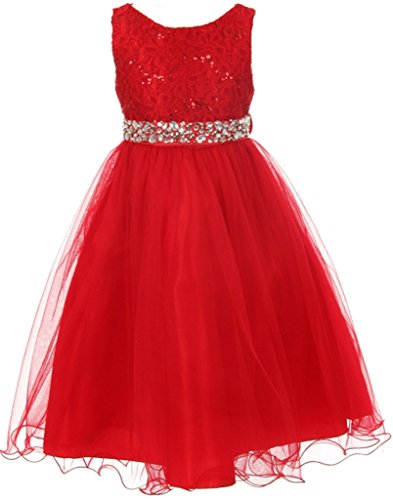 Glitters Sequined Bodice Double Layer Tulle Rhinestones Sash Flower Girl Dress for Big Girl Red 8 MBK 340 - Tea Length Sequined Dress