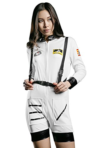 Adult Women Sexy Astronaut Halloween Costume Space Cutie Dress Up & Role Play (Small/Medium, white, black)