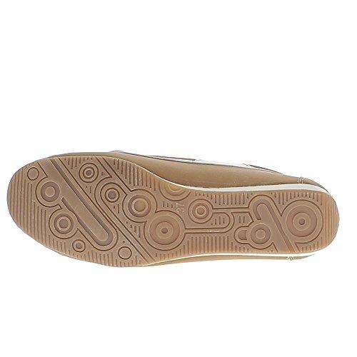 Chaussures mocassins femme camel confort à petit talon compensé
